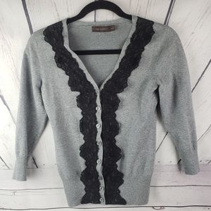 THE LIMITED | grey cardigan with lace size XS